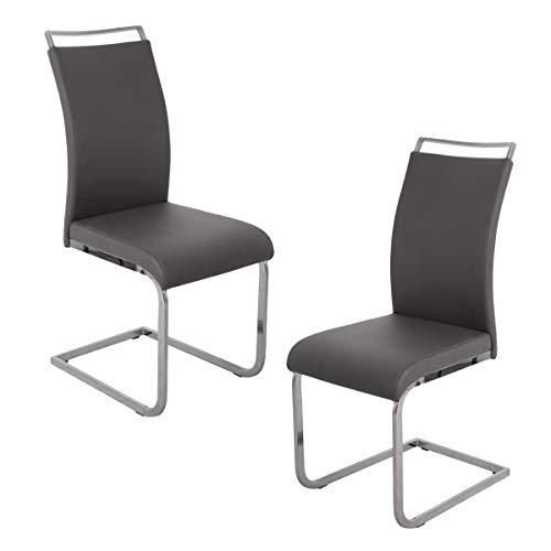 SVITA 2er Set Freischwinger Stühle Grau