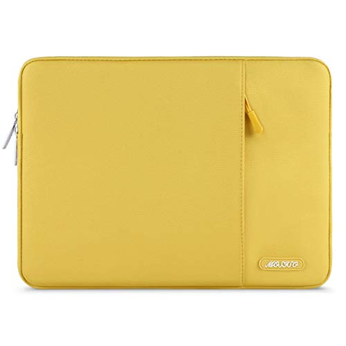 MOSISO Laptop Sleeve Bag Compatible with 13-13.3 inch MacBook Pro, MacBook Air, Notebook Computer, Water Repellent Polyester Vertical Protective Case with Pocket, Yellow Nebraska