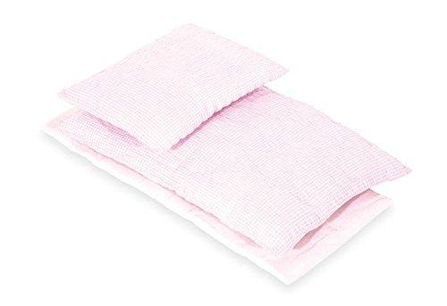 Pinolino Puppenbettzeug Vichy-Karo, 3-tlg., mit Matratze, Bettdecke und Kopfkissen, waschbar, Bezug 100 % Baumwolle, für Mädchen ab 1 J., rosa
