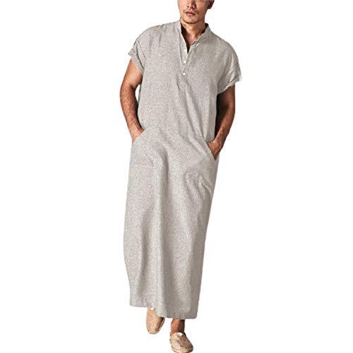 Herren Ethnische Roben Einfarbig Kaftan Lösen Fit Beiläufiges Tunic Große Größen Lange Shirt mit Taschen Sommer Marokkanische Thobe Robe Kostüm Arabische Gebetskleidung mit Taschen (Khaki, 3XL)