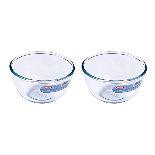 Pyrex Classic Round Glass Bowl Ovenproof and Microwave Safe 0.5 Litre Transparent (Pack of 2)