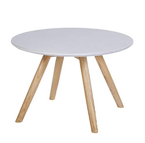 HRFHLHY Table D'appoint De Canapé Balcon en Bois Massif Table Basse Ronde,White