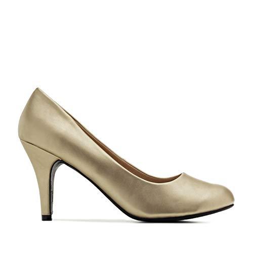 Andres Machado - Elegante Pumps aus goldenem Lederimitat für Damen und Mädchen mit 9,5 cm Absatz – High-Heels – AM422 – Größe EU 42