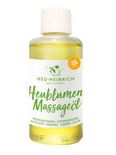 HEU-HEINRICH® 100ml Heublumen-Massageöl - Naturkosmetik - mit Avocadoöl Mandelöl Jojobaöl Olivenöl Bergkräutern und Arnika - Ganzkörper Massage