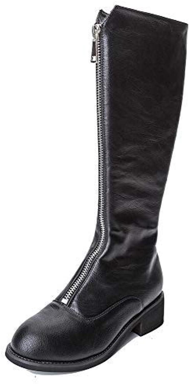 YolandaZula Front Zipper up Simple Style Block Heel Trendy Nearly Knee High Black Boots for Women