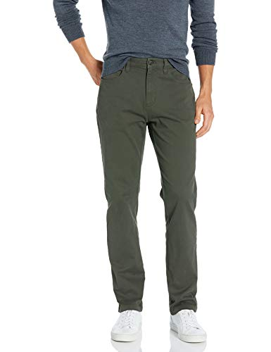 Amazon Brand - Goodthreads Men's Athletic-Fit 5-Pocket Chino Pant, Olive, 36W x 32L