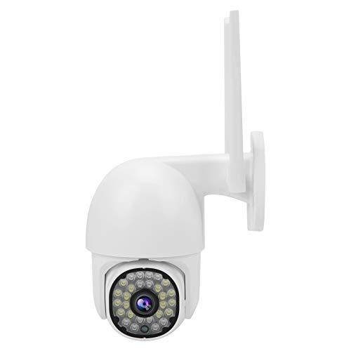 Mxzzand Cámara 1080P WI-FI 28 Luces PTZ Cámara Domo de visión Nocturna a Todo Color Impermeable de 2 vías para Hablar con Bolsa Impermeable(EU Plug)