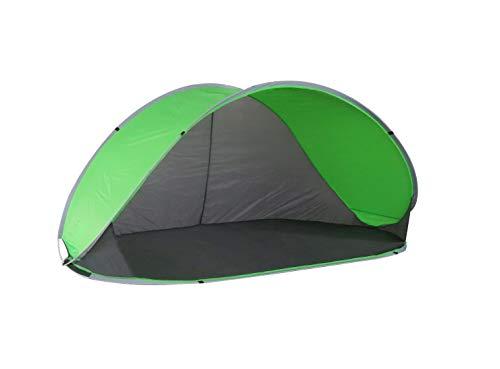 Strandmuschel Pop Up Strandzelt Grau + Grün Polyester blitzschneller Aufbau Wetter- und Sichtschutz Duhome 5062