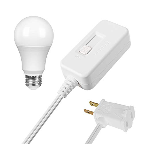 DEWENWILS Table Top Inline Dimmer Switch and Warm White Dimmable LED Light Bulb Set for Lamp, Full Range Slide Control, 6.6 ft Extension Cord, UL Listed