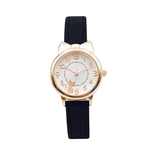 Reloj Niño ZWRY Niños Reloj para niños Gato Relojes de Cuarzo Multicolor Relojes para niña Reloj Reloj de Pulsera Relojes de Colores Dorado-Negro