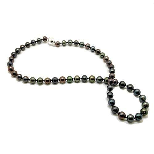 Echte Perlenkette tahiti-schwarz Süßwasserperlen Collier Silber 925 Länge 46 cm handgefertigt