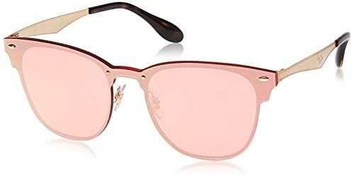 Ray-Ban RB3576N Blaze Clubmaster Square Metal Sunglasses, Brushed Gold/Pink Mirror, 47 mm