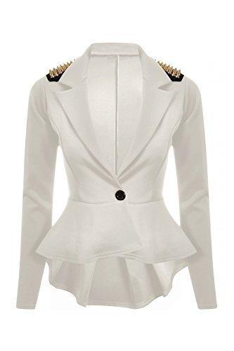 Oops Outlet Blazer donna, con manico lungo Un Peplum bottoni e dettagli chiodati appuntiti Crème - manteau chic noël