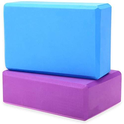Lsooyys 2 bloques de yoga bloques de gimnasia espuma ladrillo entrenamiento ejercicio fitness conjunto herramienta alta densidad Eva espuma ladrillo ecológico (púrpura azul)