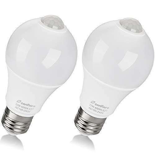 Ampoule Detecteur de Mouvement, Zanflare 12W E27 Ampoule LED Capteur PIR Infrarouge, Auto On/Off, Eclairage pour Escalier, Garage, Couloir, Passerelle, Jardin,cave, Passerelle. (PACK de 2)