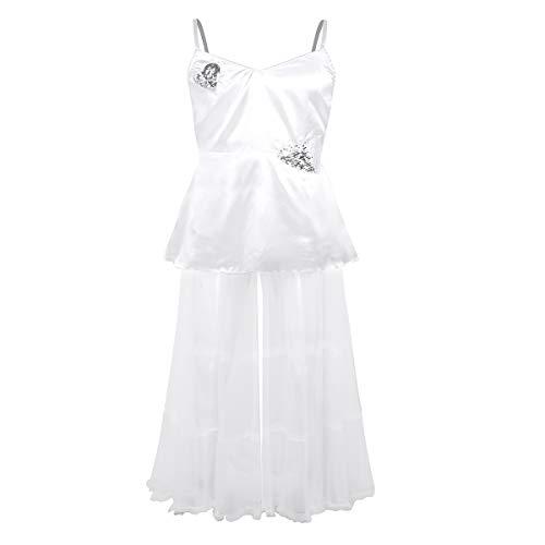YOOJIA Herren Brautkleid Sissy Dessous Satin Kleider Nachtkleid Nachthemd mit Tüll Rock Hochzeit Braut Kostüm Erotik Nachtwäsche Nachtclub Partykleider Weiss XX-Large