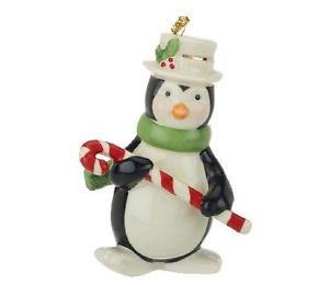 Lenox Porcelain Penguin with Candy Cane Ornament, Lenox Ornament