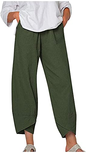 DLFE Summer Pants for Women Casual Pockets Cotton Linen Wide Leg Drawstring Elastic Waist Capris Crop Pants