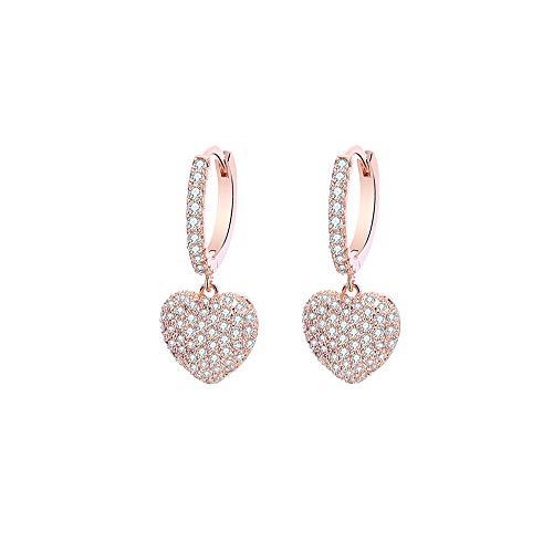 Orecchini a cerchio a forma di cuore da donna, ipoallergenici, placcati in oro rosa e argento con cristalli di zirconia cubica, idea regalo per gli amici e Rame, colore: Oro rosa, cod. E268-TEH0344-RG