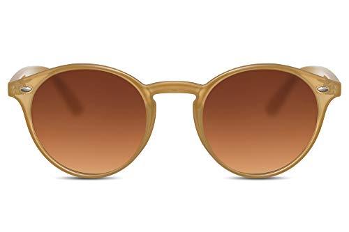 Cheapass Gafas de Sol Redondas Unisex Light Transparant Marrones con Gradient Cristales Marrones 100% Protección UV400