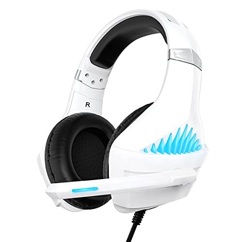 Cuffie Gaming per PS4 PS5 Xbox One, Cuffie da Gaming con microfono e Bass stereo, Microfono Riduzione del Rumore Controllo Volume Confortevole 3,5 mm LED per PC/MAC/Laptop (Bianca)