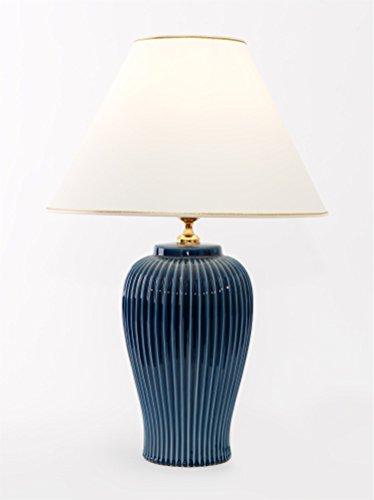 Tischleuchte Lampe Nobile blu aus Keramik blau| Tischlampe E27 | Handgefertigt in Italien | Exklusive Leuchte mit 24 Karat Gold Veredelung