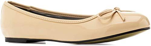 Flache Ballerinas für Damen und Junge Frauen mit flachem Blockabsatz und dekorativer Schleife - Loafer - TG104 – Große Auswahl an Farben und Ausführungen-Lack Beige-45 EU