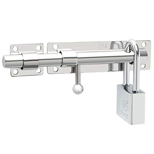 Sayayo Cerradura de la puerta de seguridad del perno del pestillo de la compuerta deslizante de servicio pesado, acabado de cromo sólido de acero inoxidable (no incluye candado), EMS9000