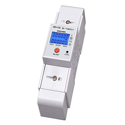 B+G E-Tech DRS255BC - Stromzähler digitaler Wechselstromzähler für DIN Hutschiene 1-Phasen Anzeige mit LCD, als Zwischenzähler geeignet bis 50A, 1000imp./kWh Stromverbrauchszähler mit Tageszählfunktion