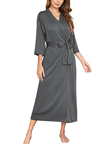 Ekouaer Womens Robes, Lightweight Cotton Robe Soft Sleepwear Ladies Loungewear Dressing Gown Long Bathrobe Dark Grey