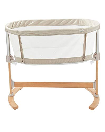 Purflo Keep Me Close Breathable Hypoallergenic Bedside Co-Sleeping Crib with Drop Rail & 6 Height Positions Includes Mattress Travel Bag & Fitted Sheet - Soft Truffle