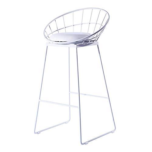 LMK Silla, silla de bar, silla de comedor, taburete de bar moderno Taburete nórdico Silla alta Silla de comedor Taburete de bar para el hogar creativo Silla de hierro forjado, con pata de metal,Blanc