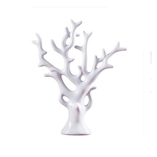 ZLBYB Desktop-Statue Tischdekoration, kreativer keramischer Schreibtisch Fortune-Baum, Couchtisch Dekor, Zimmerschmuck (Color : White)