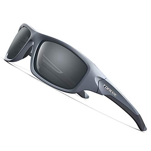 Torege Gafas de sol deportivas polarizadas para hombres y mujeres Ciclismo Correr Pescar Golf TR90Montura irrompible TR011, gris