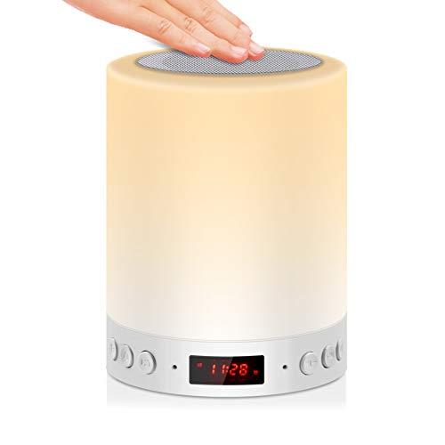 5 EN 1 Lampe de Chevet Tacile Rechargeable Portable,JOLVVN Lampe de Table Enceinte Bluetooth Musique USB FM Radio Réveil Numérique Lumière LED Multicolore Cadeau Hommes/Femmes/Enfants
