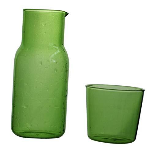 Cabilock - Jarra de agua de cristal con taza de cristal de encrespamiento, jarra de cristal para zumos de agua, vino, resistente al calor y al frío, 500 ml (verde)