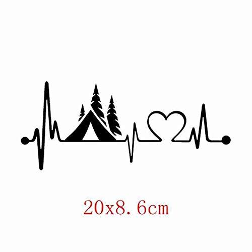 OLUYNG Sticker de Carro FTZ-44# 20x8,6 cm Tienda de campaña Camper Monitor de latidos del corazón Pegatina de Camping Pegatina Coche camión Car Styling Vinilo calcomanías 2 Piezas FTZ-44 Negro