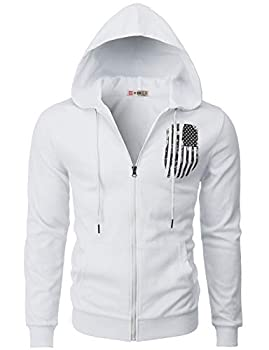 H2H Mens Casual Zip-up Hoodie Double Cotton Lightweight American Flag Printed Hooded White US M/Asia L  CMOHOL065