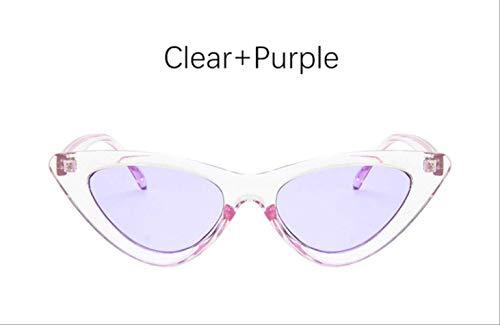 YMKWQF Sonnenbrille Cat Eye Shade Für Frauen Mode Sonnenbrillen Frau Vintage Retro Dreieckige Cateye BrilleKlar Lila