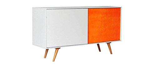 Madia Buffet commode en bois avec 2 portes coulissantes au design moderne