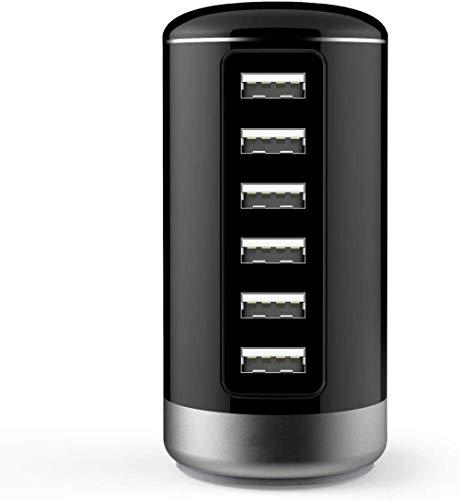 Peine Cargador USB Cargador de Red USB Estaciones de Carga USB de 6 Puertos con Enchufe del Reino Unido Mains iSmart Tower Charge para tabletas, teléfonos Inteligentes y Otros Dispositivos-Negr