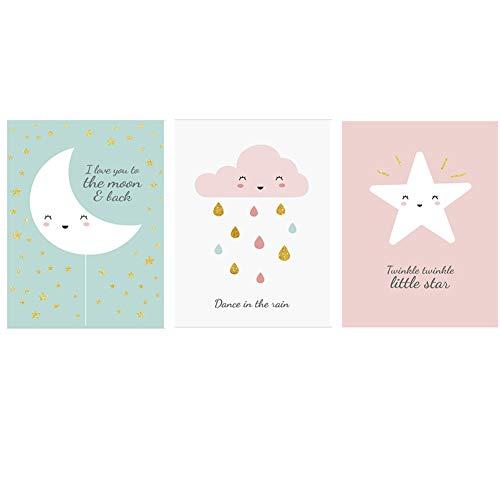 Fran - Set di 3 poster per la camera dei bambini, con disegni di cartoni animati, stelle e luna, bella decorazione 21x30cm Gufo