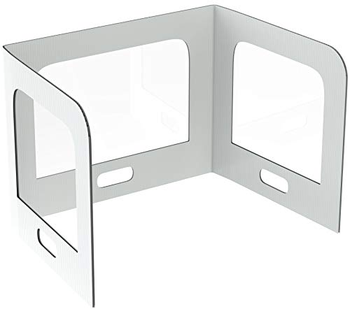 𝐄𝐚𝐬𝐲 𝐭𝐨 𝐃𝐢𝐬𝐢𝐧𝐟𝐞𝐜𝐭 Plastic Shield for Desk - Sneeze Guard Desk Shield for Classroom or Office - Desk, Table, Countertop Protective Screen Barrier - Divider for Students and Teachers