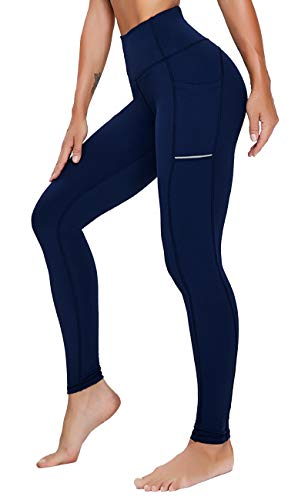 Olacia Leggins Sport Damen Fitness Sporthose Hohe Taille Lange Leggings mit Taschen Dunkelblau M