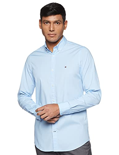Tommy Hilfiger Core Stretch Slim Poplin Shirt Chemise Casual, Homme, Bleu Blue 474), Medium (Taille fabricant: MD)