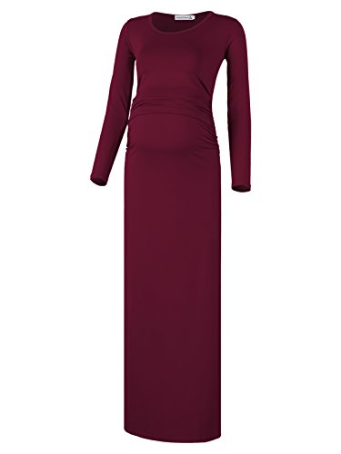 BlackCherry Women's Long Sleeve Retro Maternity Crew Neck Maxi Dress