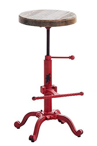 Taburete Industrial Carson con Asiento De Madera I Taburete Vintage Regulable En Altura I Silla Alta con Estructura De Metal I Color:, Color:Rojo