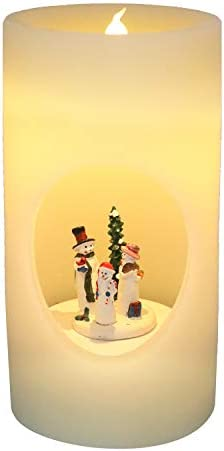Wondise Large Flameless Flickering Candles with Music and 6 Hour Timer Battery Operated Snowman product image