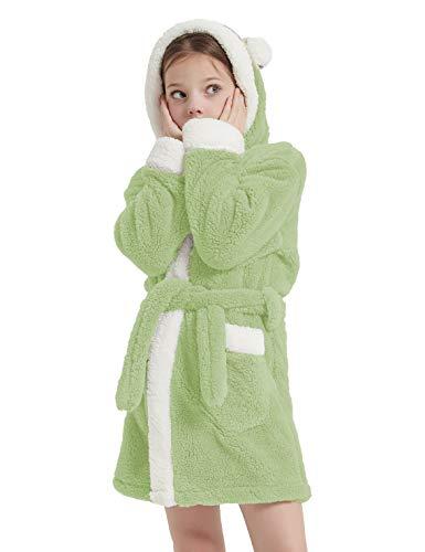 CASODA フラシ天シェルパローブ 子供用 フード付きバスローブ 女の子 寝間着 ソフト 動物 快適 暖かい ギフト コスチューム US サイズ: 9-10 Years カラー: グリーン