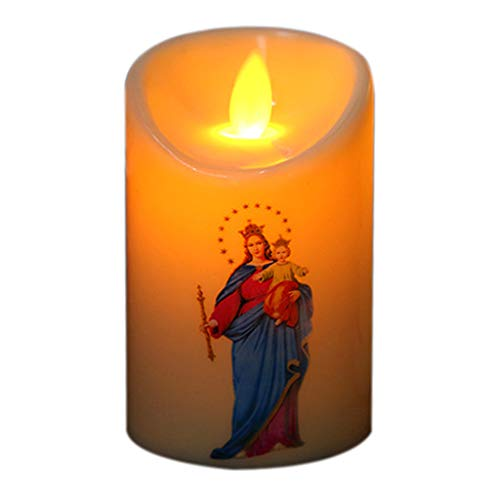 FUNCOCO Lámpara de Vela, Jesucristo Lámpara de Velas Candelita LED Luz de Pilar romántica Vela electrónica sin Llama Creativa - Patrón 5